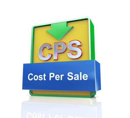 cpl: 3d design illustration presentation of arrow banner of cps - cost per sale Stock Photo