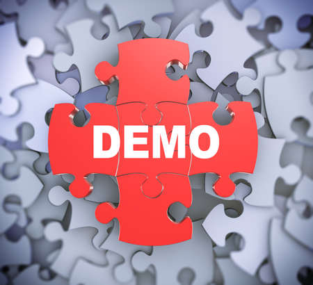 attached: 3d illustration of attached jigsaw puzzle pieces word demo presentation on background of heap of puzzle pieces