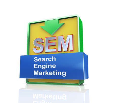 search engine optimized: 3d design illustration presentation of arrow banner of sem -  search engine marketing Stock Photo