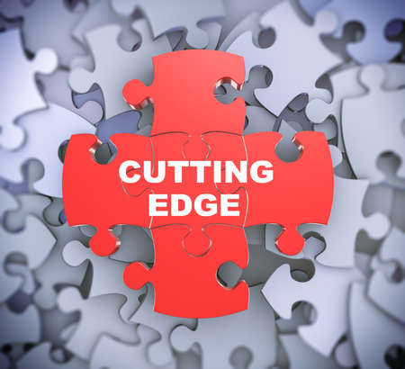 complete solution: 3d illustration of attached jigsaw puzzle pieces phrase cutting edge presentation on background of heap of puzzle piece Stock Photo