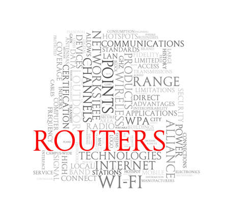 routers: Illustration of wordcloud word tags of concept of routers