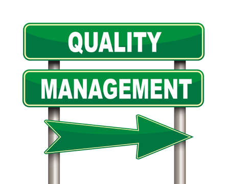 Illustration of green arrow and road sign of quality management concept