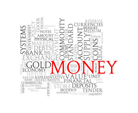 measured: Illustration of wordcloud word tags of concept of  money Stock Photo