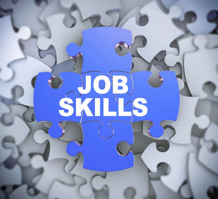 3d illustration of attached jigsaw puzzle pieces phrase job skills presentation on background of heap of puzzle pieces