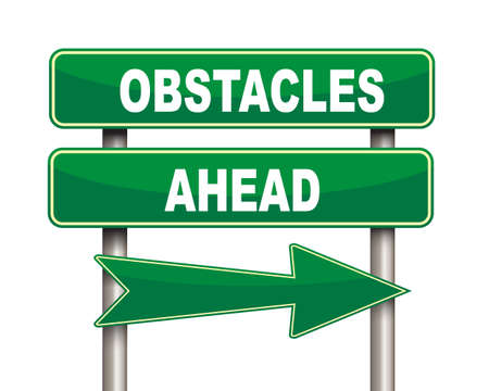 obstacles: Illustration of green arrow and road sign of Obstacles ahead concept