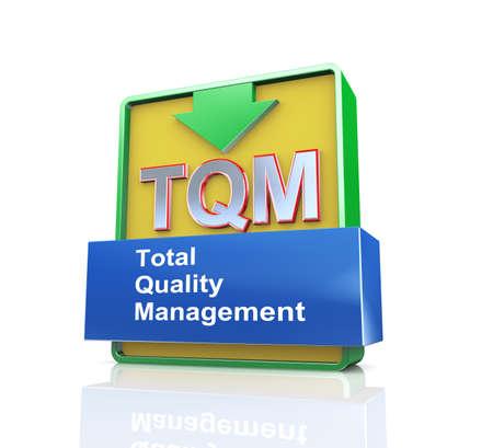 suppliers: 3d design illustration presentation of arrow banner of tqm  - total quality management Stock Photo