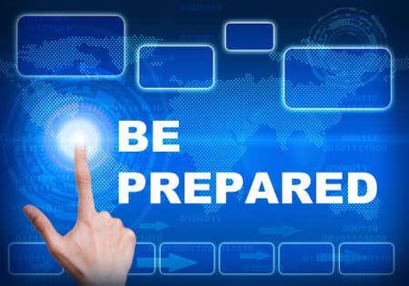 be prepared: Human finger pressing high tech glowing modern be prepared  interface touch screen button on abstract blue technology digital background