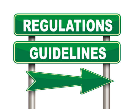 compliant: Illustration of green arrow and road sign of regulations guidelines concept