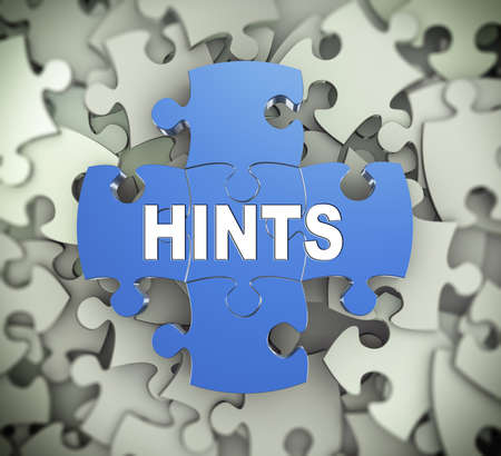hints: 3d illustration of attached jigsaw puzzle pieces word hints presentation on background of heap of puzzle pieces