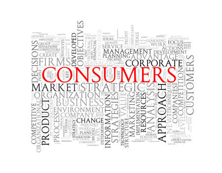 branded product: Illustration of wordcloud word tags of concept of consumers