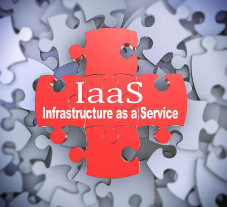 saas: 3d illustration of attached jigsaw puzzle pieces iaas Infrastructure as a Service presentation on background of heap of puzzle pieces