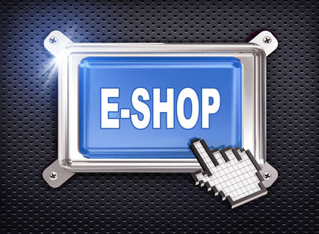 e money: 3d illustration of hand cursor pointer and chrome button presentation of concept of e-shop Stock Photo