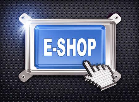 eshop: 3d illustration of hand cursor pointer and chrome button presentation of concept of e-shop Stock Photo