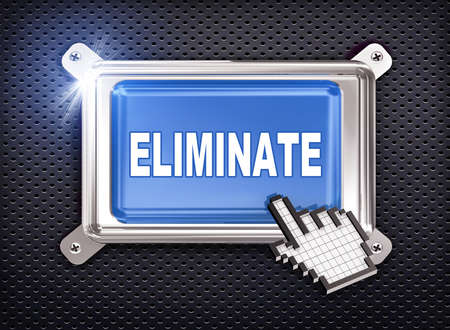eliminate: 3d illustration of hand cursor pointer and chrome button presentation of concept of eliminate