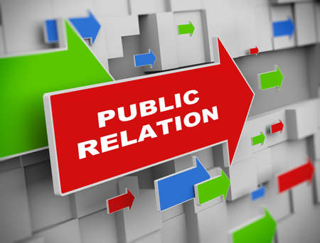 relation: 3d illustration of moving arrow of public relation on abstract wall background
