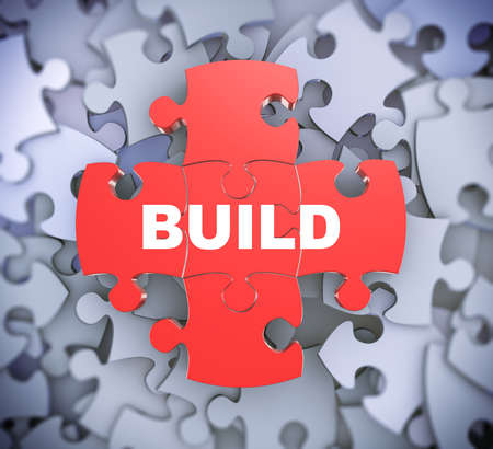 erect: 3d illustration of attached jigsaw puzzle pieces word build presentation on background of heap of puzzle pieces