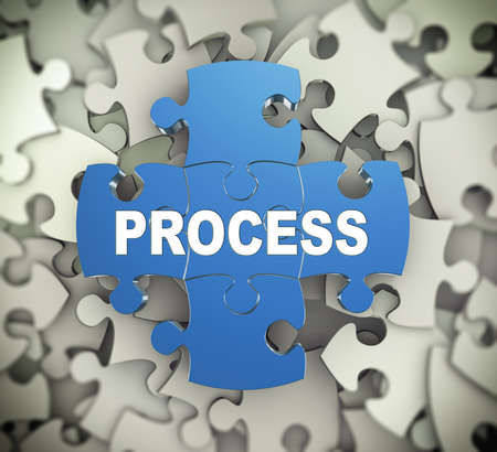 proceeding: 3d illustration of attached jigsaw puzzle pieces word process presentation on background of heap of puzzle pieces