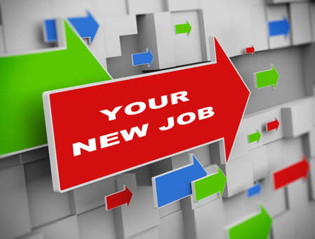 signup: 3d illustration of moving arrow of your new job on abstract wall background Stock Photo