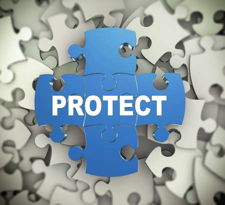 assure: 3d illustration of attached jigsaw puzzle pieces word protect presentation on background of heap of puzzle pieces Stock Photo