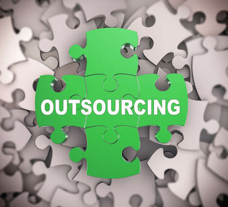 3d illustration of attached jigsaw puzzle pieces word outsourcing presentation on background of heap of puzzle pieces Stock Photo