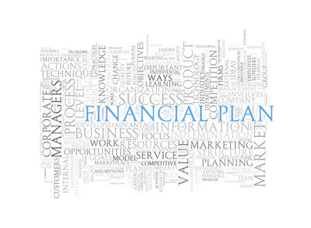 financial plan: Illustration of wordcloud word tags of concept of financial plan