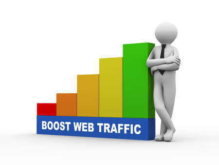 web traffic: 3d illustration of business person with boost web traffic progress growth rising bars. 3d human person character and white people Stock Photo