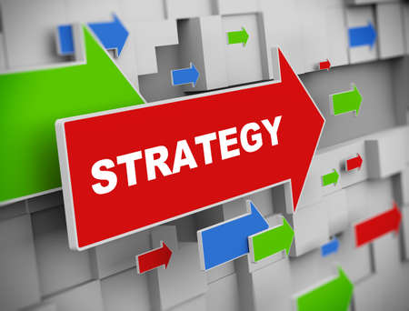 stratagem: 3d illustration of moving arrow of strategy on abstract wall background