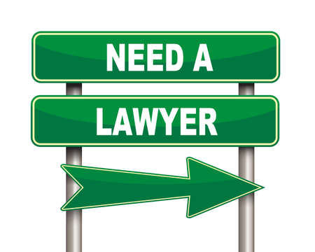 litigate: Illustration of green arrow and road sign of need lawyer concept