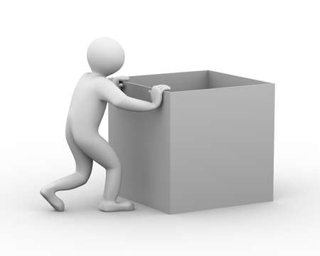 box weight: 3d illustration of person pushing empty box. 3d human person character and white people Stock Photo