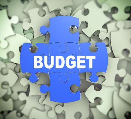 attached: 3d illustration of attached jigsaw puzzle pieces word budget presentation on background of heap of puzzle pieces
