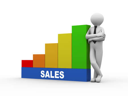 sales person: 3d illustration of business person with sales progress growth rising bars. 3d human person character and white people