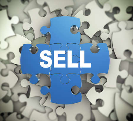 obtain: 3d illustration of attached jigsaw puzzle pieces word sell presentation on background of heap of puzzle pieces
