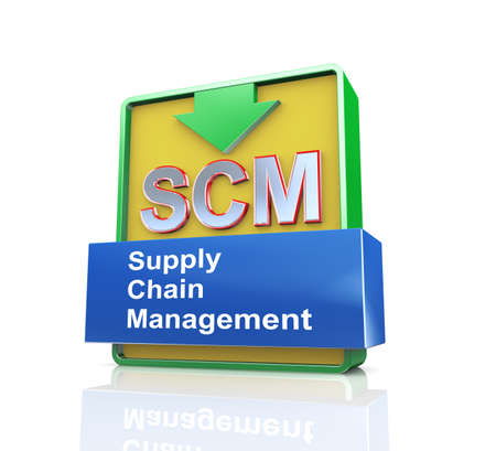 scm: 3d design illustration presentation of arrow banner of scm - supply chain management Stock Photo