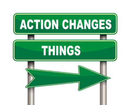 changes: Illustration of green arrow and road sign of Action changes things concept