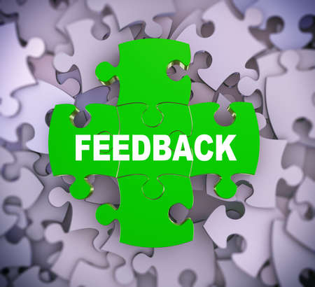 criticism: 3d illustration of attached jigsaw puzzle pieces word feedback presentation on background of heap of puzzle pieces