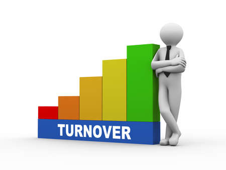 turnover: 3d illustration of business person with turnover progress growth rising bars. 3d human person character and white people