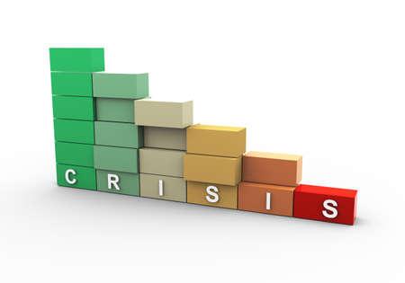 economy crisis: 3d illustration of finaical economy crisis stats bars Stock Photo