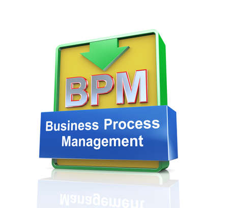 bpm: 3d design illustration presentation of arrow banner of bpm - business process management