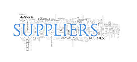 supplier: Illustration of word tags wordcloud of concept of supplier