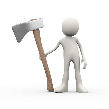 3d illustration of man holding big axe. 3d human person character and white people