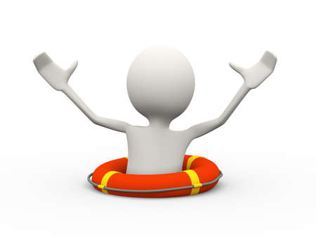 3d illustration of drowning man in the life preserver lifebuoy ring calling for help. 3d human person character and white people Stock Photo