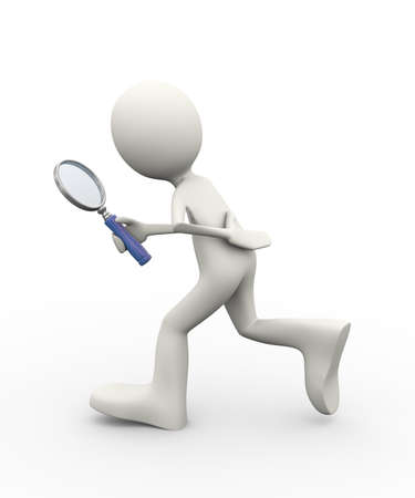3d illustration of man searching with magnifying glass. 3d human person character and white people