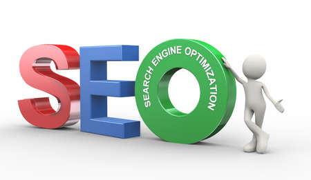 3d illustration of man presentation of seo - search engine optimization. 3d human person character and white people