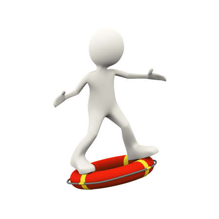 3d illustration of man surfing on ife preserver lifebuoy ring. 3d human person character and white people
