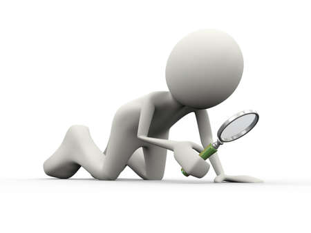 side viewing: 3d illustration of man holding and searching with magnifying glass. 3d human person character and white people Stock Photo