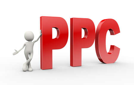 3d illustration of man standing with ppc  pay per click. 3d human person character and white people Stock Photo
