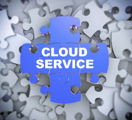 3d illustration of attached jigsaw puzzle pieces phrase cloud service presentation on background of heap of puzzle pieces