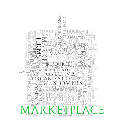 information medium: Illustration of wordcloud word tags of concept of marketplace