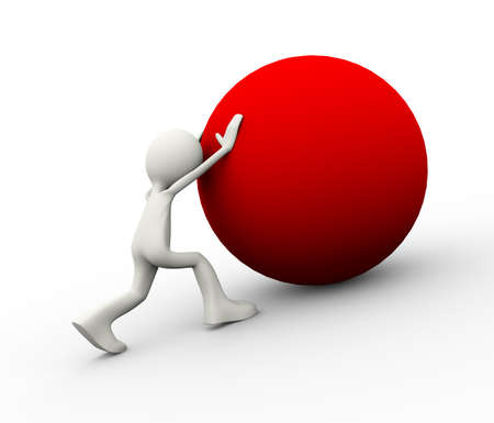 3d illustration of man pushing a red big ball uphill showing determination. 3d human person character and white people Фото со стока