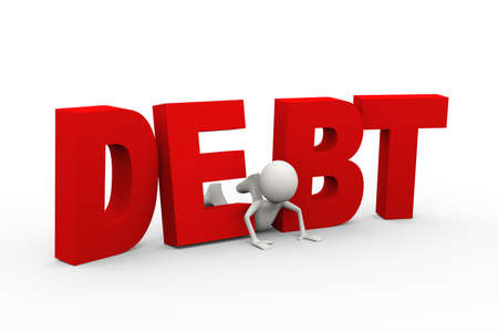 3d illustration of person caught and trapped in the word debt. 3d human person character and white people